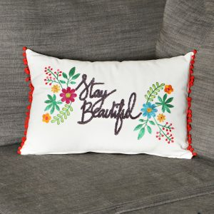 Sweet Bird \u2013 Stay Beautiful Pillow & Door County Hand Embroidered Pillow | Brick and Mortar